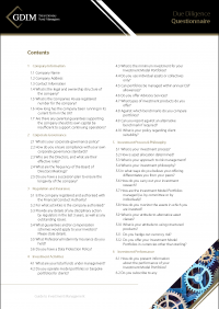 GDIm Due Diligence Questionnaire Page 1